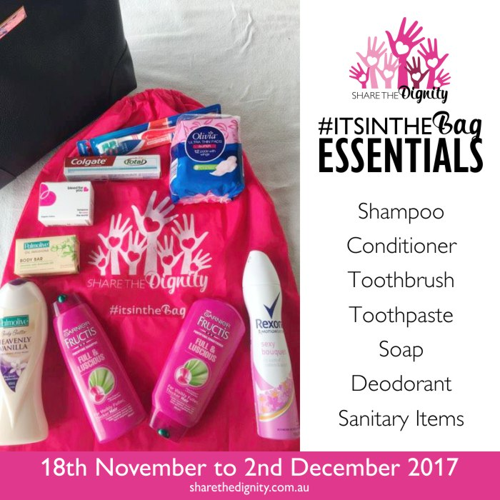 Essentials for Share the Dignity It's in the bag